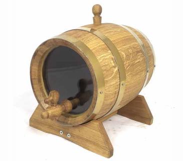 Observation oak barrel with glass heads 3-10 L