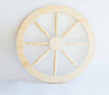 Wooden cart wheel for decoration