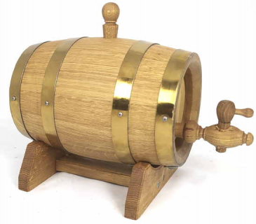 Oak  barrels  with golden color hoops